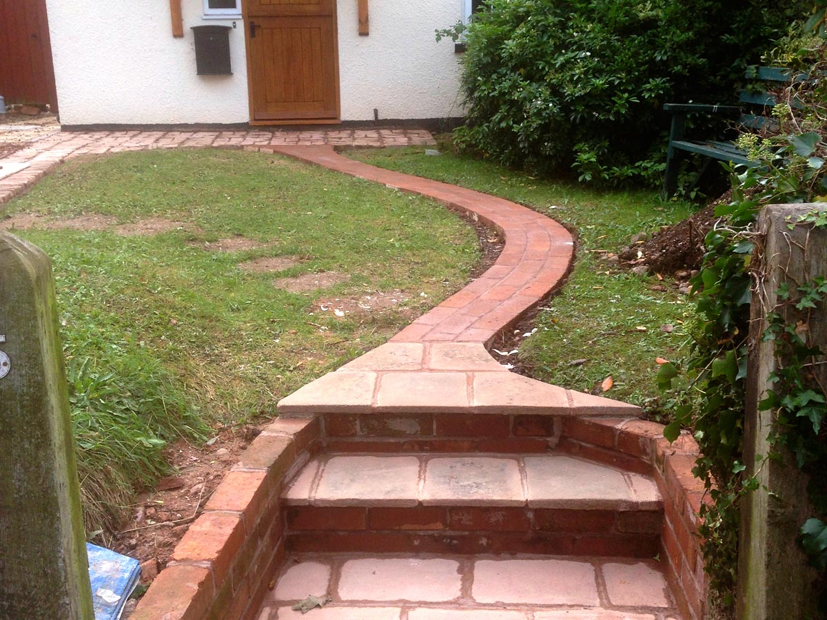 Brick and stone built garden path